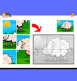 jigsaw puzzles with sheep farm animal vector image vector image