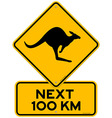 kangaroos next 100 km vector image vector image