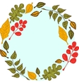 Leaves on a round blue background vector image