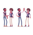male and female black friends greeting vector image