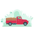 man driving lorry with potato harvest delivery vector image vector image