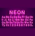 neon font city color purple alphabet font vector image vector image