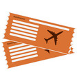 orange pattern airline boarding pass vector image vector image