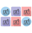outlined icon of oil derrick with parallel and vector image vector image