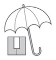 parcel and umbrella keep dry sign shipping vector image