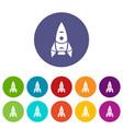 rocket spacecraft icons set color vector image vector image