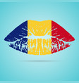 romania flag lipstick on the lips isolated on a vector image