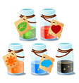 set glass flasks with magical elixir or vector image