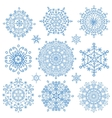 Snowflakes icon collectionWinter crystal round vector image vector image