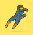 superhero running action cartoon superhero vector image