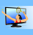 tennis player into monitor colored for designers vector image