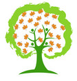 tree autumn leafs icon vector image vector image