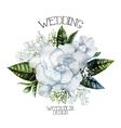 Watercolor gardenia and gypsophila vignette vector image vector image