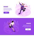 winner businessman horizontal banners vector image