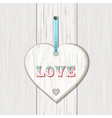 wooden heart love sign vector image vector image