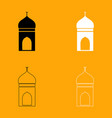 mosque set black and white icon vector image