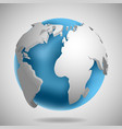 3d earth globe icon with shadow vector image