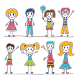 Collection of happy children Hand drawn cute vector image