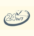 24 hours 7 day clock drawn style vector image