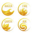 4 elements nature golden icons water earth fire