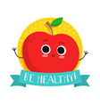 Apple cute fruit character bagde vector image vector image