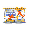 automatic production in factory using robots vector image vector image