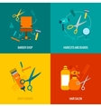 Barber shop flat icons composition vector image vector image