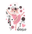 beautiful poster with cute ballerina fox vector image vector image