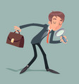 businessman character with magnifying glass and vector image vector image