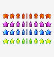cartoon set of colored stars animation game turn vector image vector image