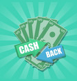 cash back emblem with money vector image vector image