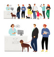 cat and dog hospital queue vector image vector image