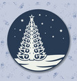 christmas icon with tree vector image vector image