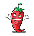 crazy red chili character cartoon vector image vector image