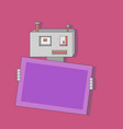 cute cartoon flat robot with banner vector image vector image