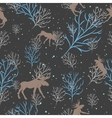 Forest deer and snow tree seamless pattern vector image