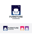 furniture evening logo design vector image