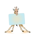 Giraffe holding a sign for the label vector image vector image