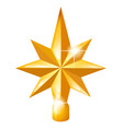 golden star on christmas tree isolated vector image vector image