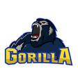gorilla logo team maskot vector image vector image