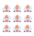 Grey haired old man face expression avatars vector image