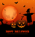 Halloween background with silhouettes vector image vector image