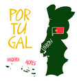 hand drawn stylized map portugal travel of vector image vector image