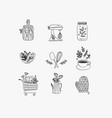hand made floral icons kitchen vector image vector image