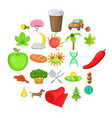 holiday camp icons set cartoon style vector image