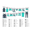 icons set washing clothes vector image vector image
