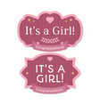its a girl babyborn pink label or badge vector image vector image