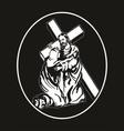 jesus cross bearing vector image vector image