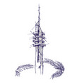 marganit tower hand drawing sketch vector image
