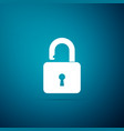 open padlock icon on blue background lock symbol vector image vector image